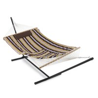 Belleze 12 ft Rope Hammock Combo with Stand, Pad and Pillow, iPad and Cup Holder (Desert Stripe)