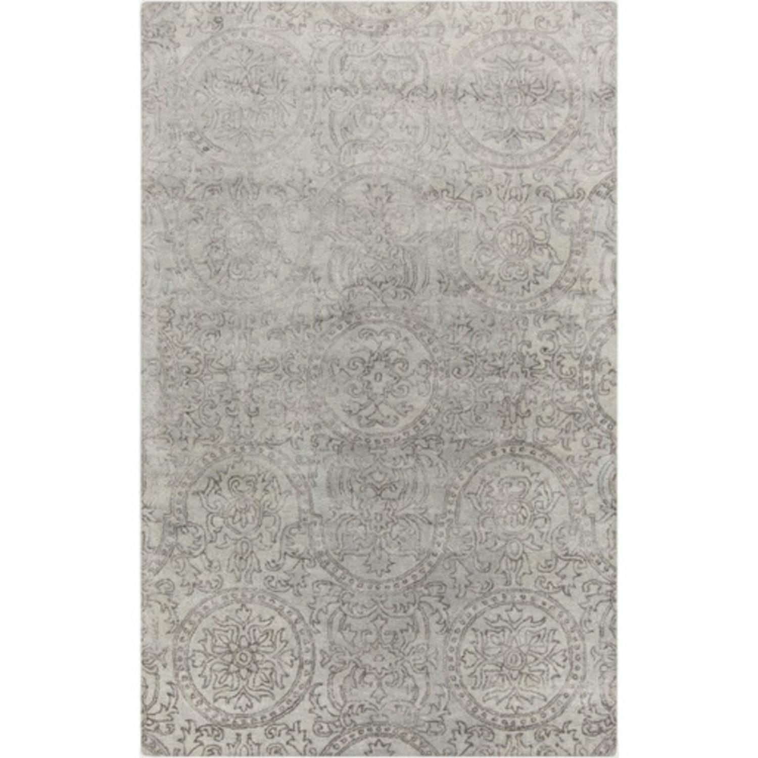 8' x 11' Turkish Marvels Gray and Light Gray Hand Tuffed Area Throw Rug