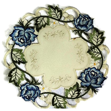 Doily Boutique Round Doily with Victorian Blue Roses and Ivory Fabric, Size 23 inches ()
