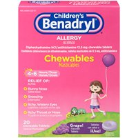 Childrens Benadryl Allergy Chewables Grape 20 Tablets Each