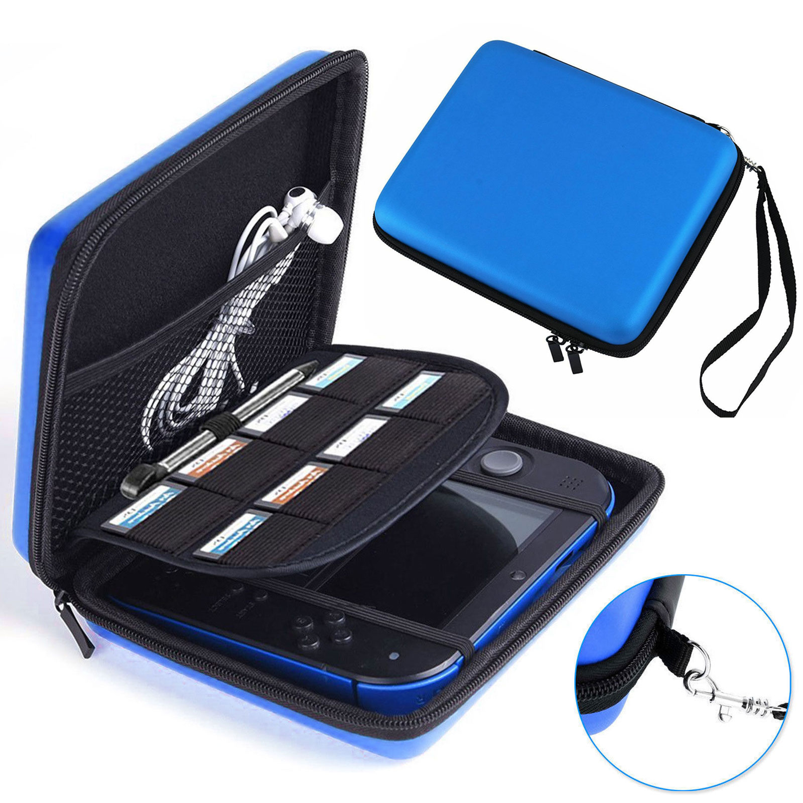 Travel Protective Carrying Storage Bag Compatible for Nintendo 2DS - Hard Shell and Accessories Pocket Storage Organizer for 2DS with Double Zipper, Wrist Strap and Game Storage