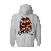 Unisex Zip Up Hoodie Motorcycle Flames Skull Cross