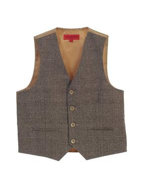 Gioberti Boy's Tweed Plaid Formal Suit Vest