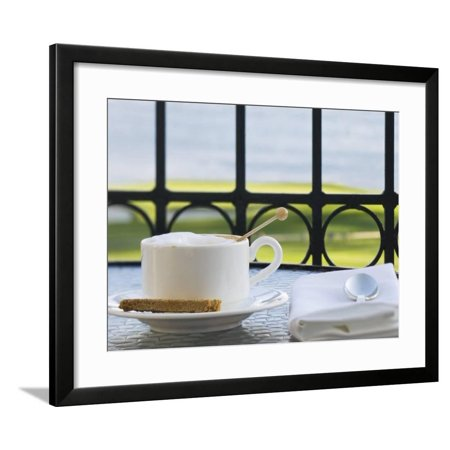 Cup of Cappuccino, Pebble Beach Golf Club, Carmel, California, USA Framed Print Wall Art By Rob Tilley