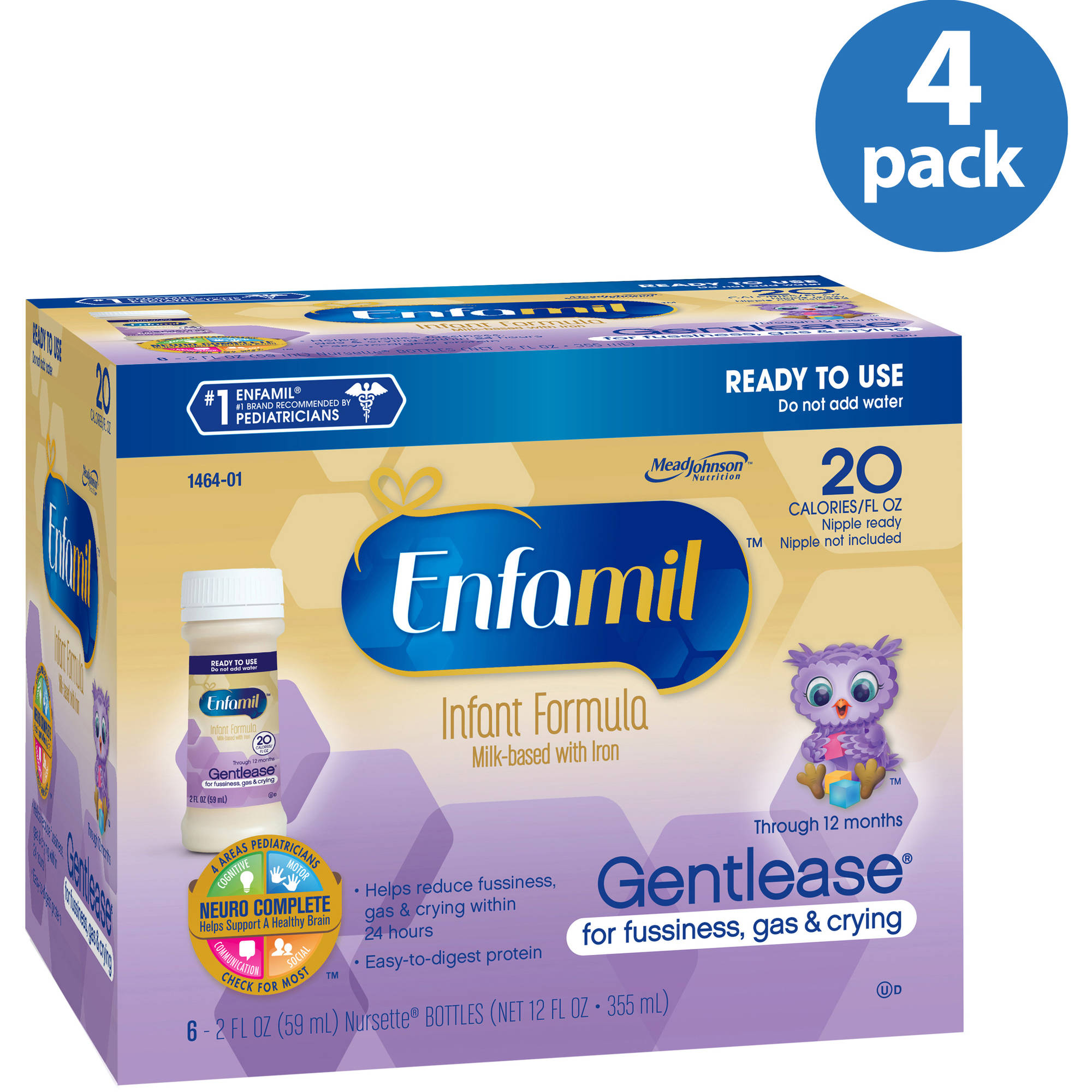 Enfamil Gentlease baby formula -  2 fl oz 20 Calorie Plastic Nursette  Bottles - 6ct, Pack of 4