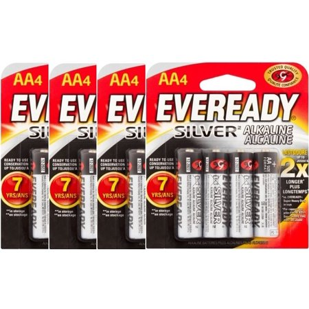 (4 Pack) Eveready Silver Alkaline AA Batteries, 4 Count