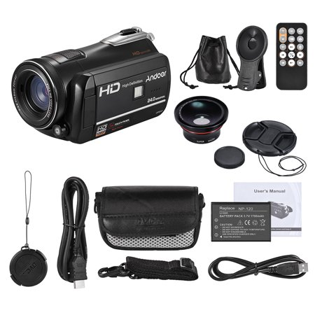 Andoer HDV-D395 Digital Video Camera DV WiFi 1080P 30fps FHD 24M Camcorder 18X Zoom with 72mm 0.39X Wide Angle + Macro Lens