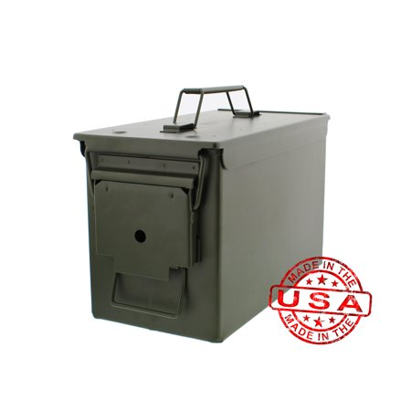 Battle Steel Tactical .50 Cal Metal American Made Military GI Ammo Can M2A1 Steel Shot Winchester Ammunition