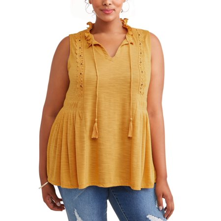 Women's Plus Size Ruffle Neck Pleated Tank - Plus Size Corsette
