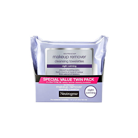 Neutrogena Makeup Remover Night Calming Cleansing Towelettes, 25 ct 2 (Green Makeup Remover)