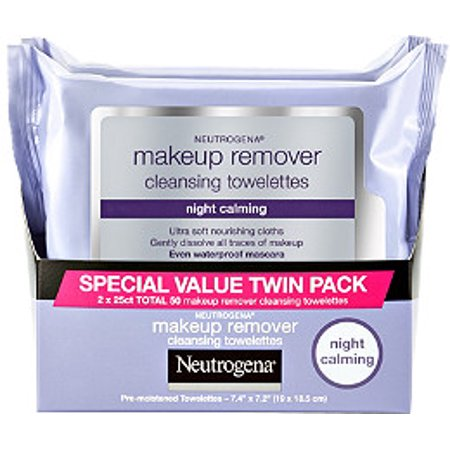 Daily Eye Makeup Remover - Neutrogena Makeup Remover Night Calming Cleansing Towelettes, 25 ct 2 Pk