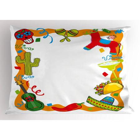 Fiesta Pillow Sham Cartoon Drawing Style Mexican Pinata Taco Chili Pepper Sugar Skull Pattern Guitar, Decorative Standard Size Printed Pillowcase, 26 X 20 Inches, Multicolor, by - Taco Pinata