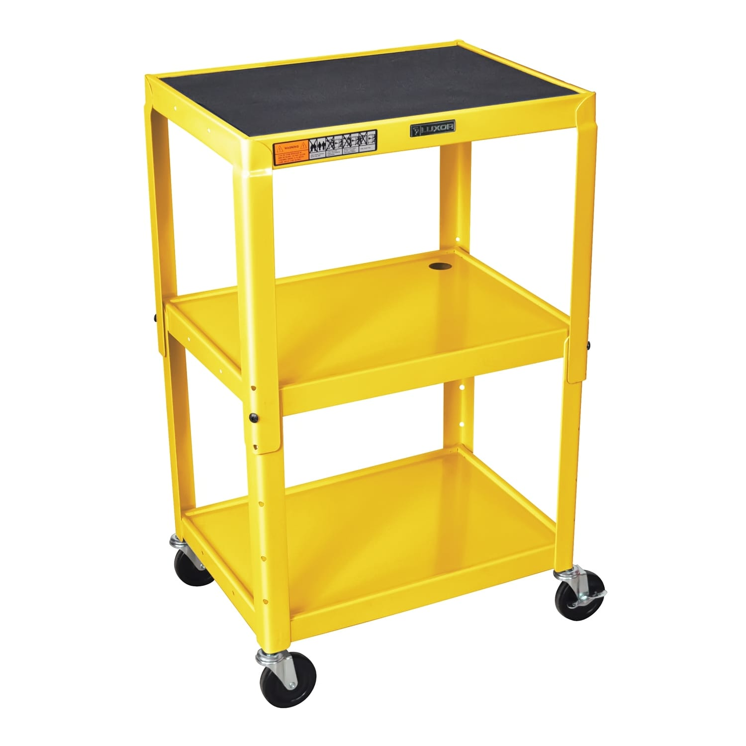 Offex OF-AVJ42-YW - Adjustable Height Steel A/V Cart - Three Shelves, Yellow