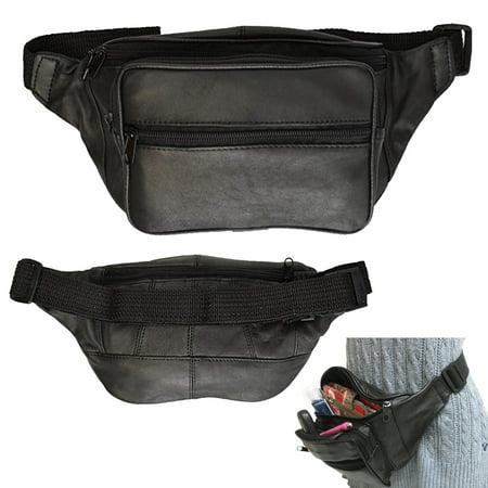 55acaa2f25d3f AllTopBargains - Black Leather Fanny Pack Waist Bag Adjustable Travel Pouch  Mens Womens Hip Purse - Walmart.com