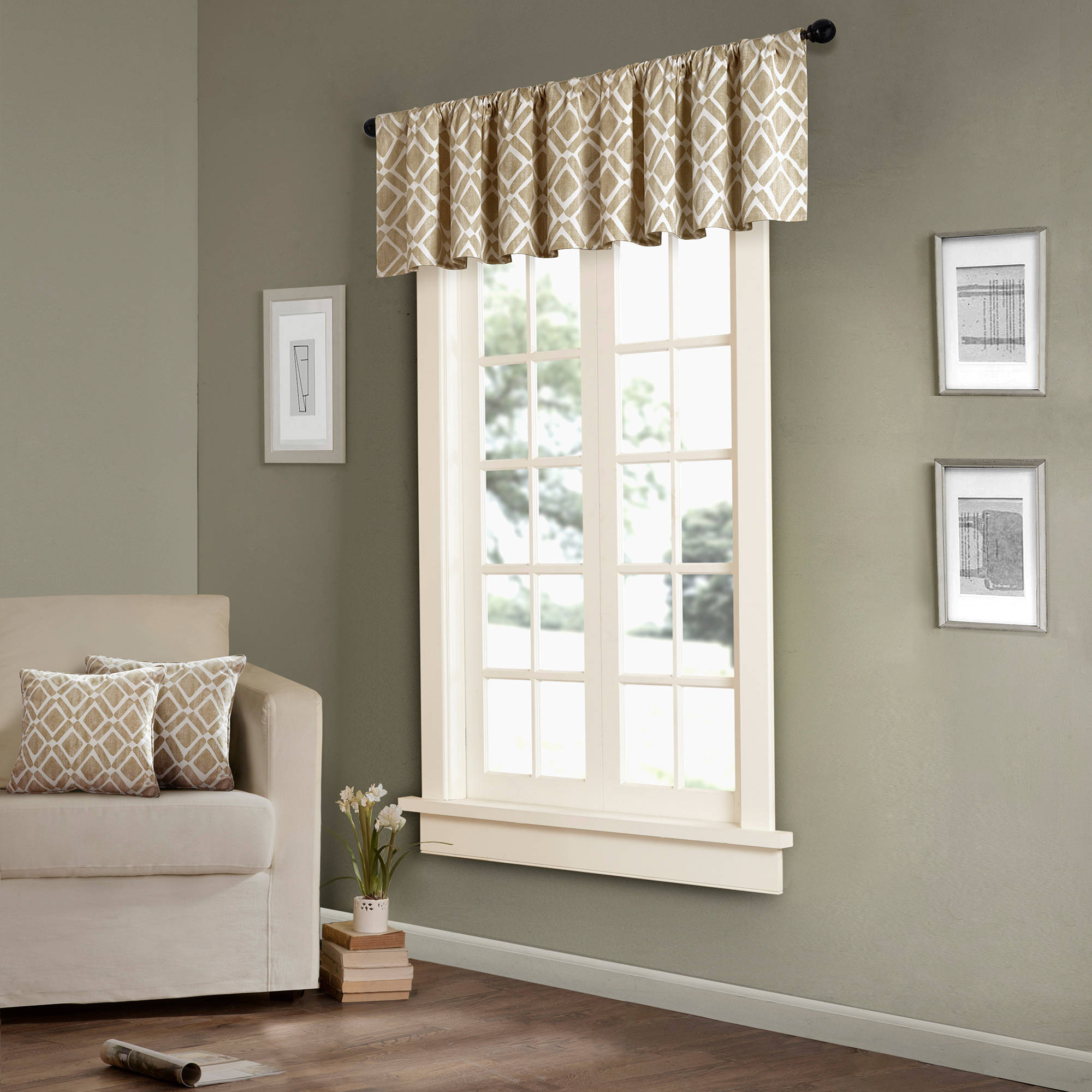 Home Essence Natalie Printed Diamond Window Valance Walmart