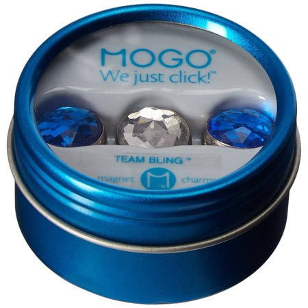 Team Bling Collections Blue-Clear-Blue, 3 charms packaged in a magnetic, reusable gift tin By Mogo Design
