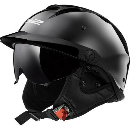 LS2 Helmets Rebellion Solid Half Motorcycle Helmet with Sunshield (Black Chrome, XX-Large)