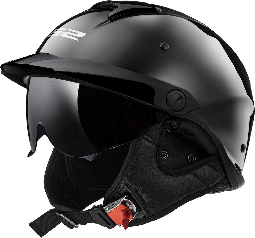 LS2 Helmets Rebellion Solid Half Motorcycle Helmet with Sunshield (Black Chrome, XX-Large)