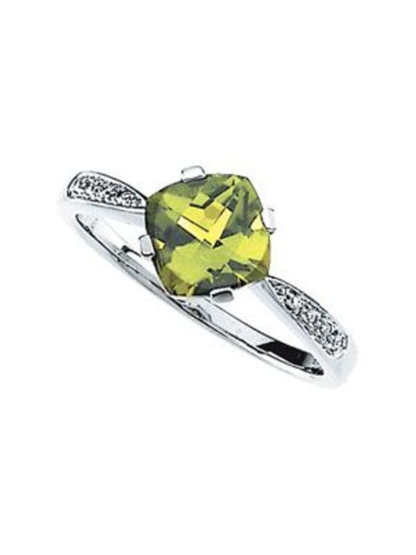 Genuine Peridot & Diamond Ring Size 7 by Bonyak Jewelry