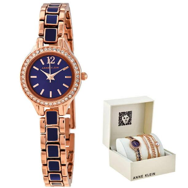 Anne Klein Navy Dial Ladies Watch and Bracelet Set