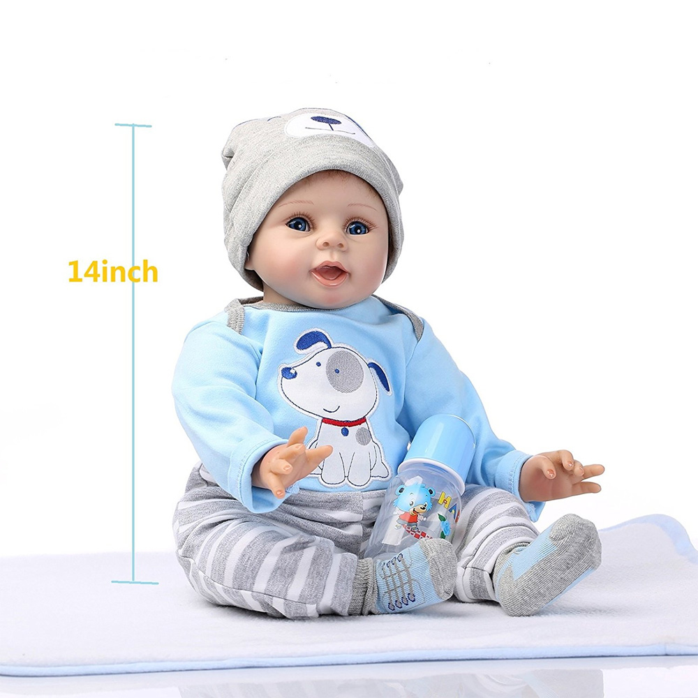 "Zimtown Reborn Baby Doll Boy Lifelike Realistic Silicone Vinyl 22"" Weighted Body Wearing Toy Blue Dog cute doll Gift Set for Ages 3+"