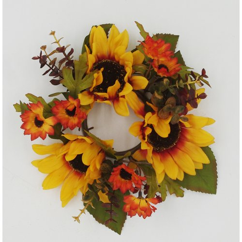 August Grove 10'' Autumn Sunflower Candle Ring Wreath