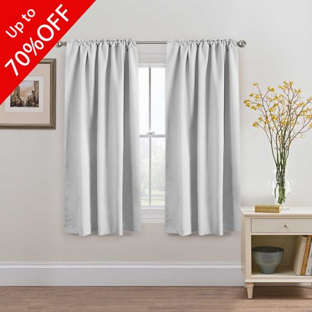 High Blackout White Curtains For Bedroom Back Tab Rod