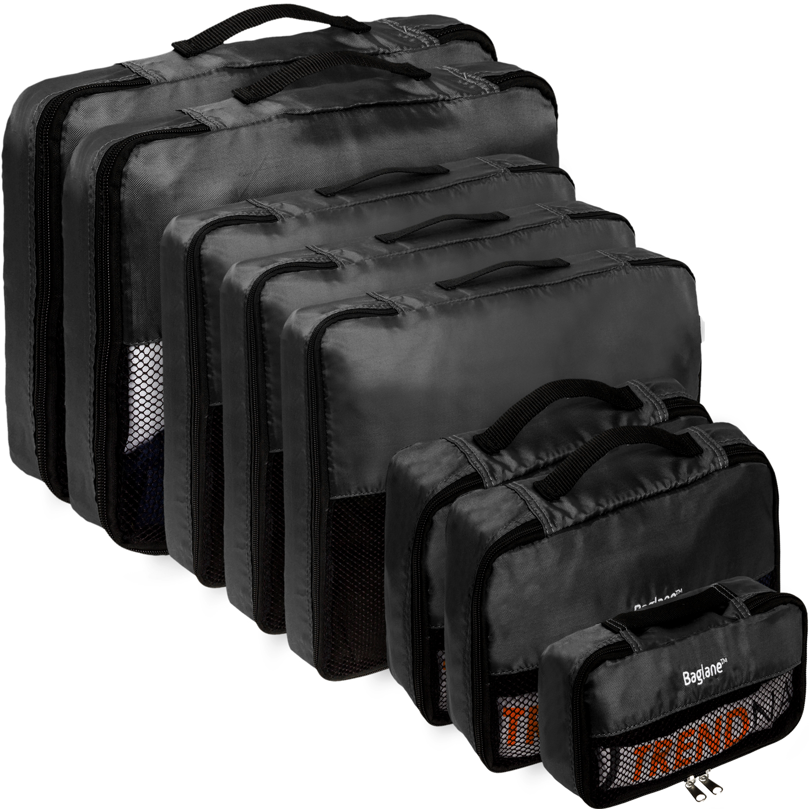 Baglane Black TechLife Nylon Luggage Travel Suitcase Packing Cube Bags - 8pc Set