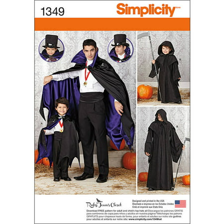 Simplicity Childs' Size S-XL Costumes Pattern, 1 Each