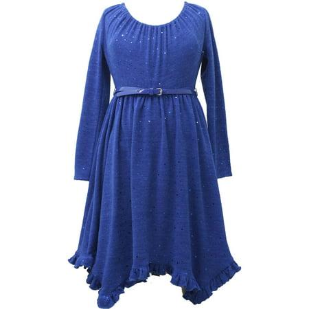 Little Girls 2T-6X Royal-Blue Belted Spangle Dot Fuzzy Knit Hanky Hem Dress, 4 [BNJ02774] - Fuzzy Dress