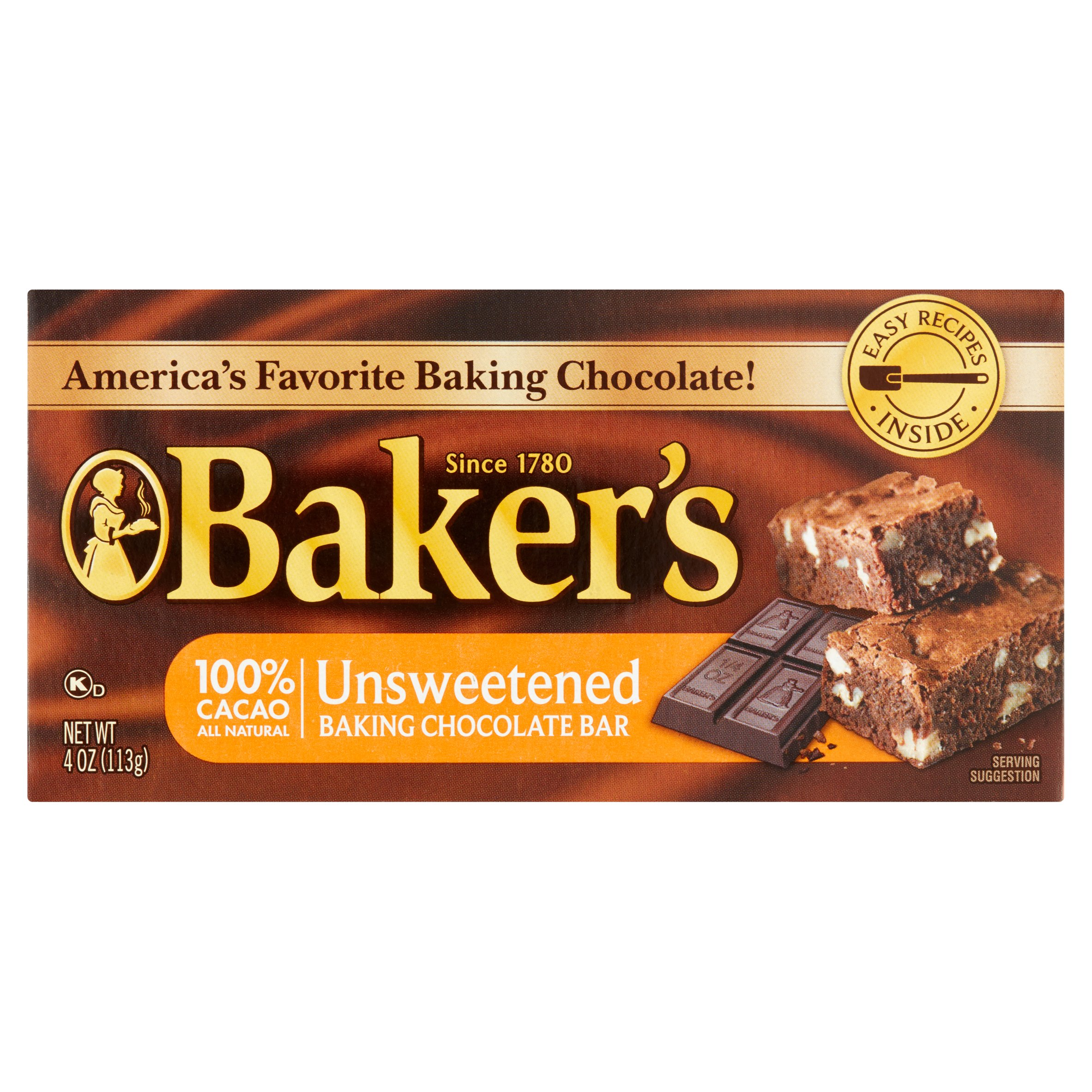 Baker's 100% Cacao Unsweetened Baking Chocolate Bar, 4.0 OZ by Kraft Foods Group, Inc.