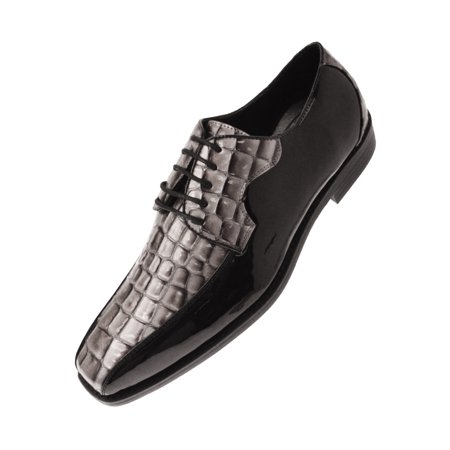 Wholesale Exotic Dancer Shoes (Bolano Mens Exotic Faux Crocodile Print Patent Formal Oxford Dress Shoe, Comfortable Lace-up Design Available in Silver, Black, Taupe, Black/Silver, Black/Red, Red, Cognac, Black/Gold,)
