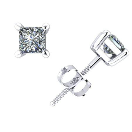 0.75CT Princess Diamond Basket Stud Earrings 18k White Gold 4Prong Set G SI1 (Si1 Set Earrings)