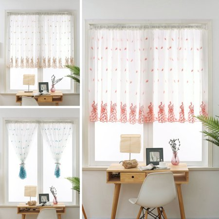Peacock embroidery floral voile sheer panel window curtain - Curtains for sliding glass doors in bedroom ...