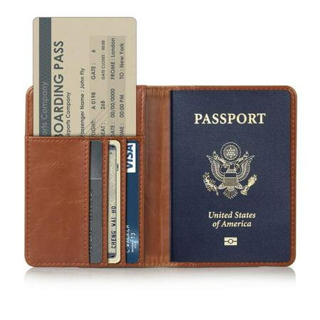 Passport Holder Travel Wallet RFID Blocking Case Cover, EpicGadget Premium PU Leather Passport Holder Travel Wallet Cover RFID Blocking Case (Brown) Textured Leather Passport Cover