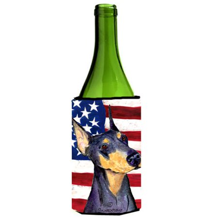 Usa American Flag With Doberman Wine Bottle   Hugger - 24 oz. - image 1 of 1