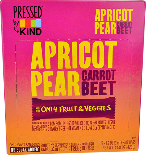 KIND Pressed Dried Fruit Bars Apricot Pear Carrot Beet --...