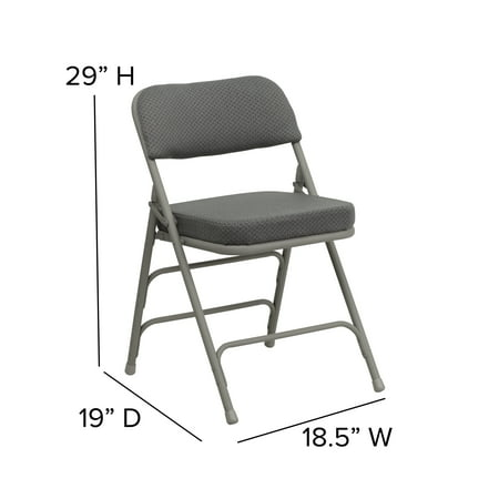 Flash Furniture 2-Pack HERCULES Series Premium Curved Triple Braced and Double Hinged Fabric Upholstered Metal Folding Chair, Multiple Colors
