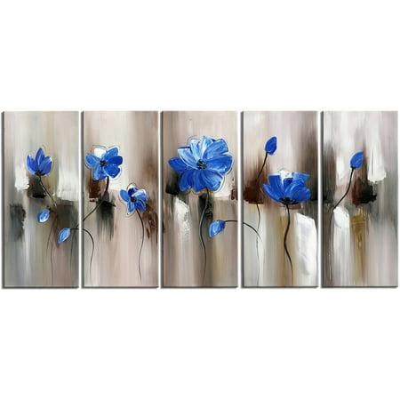 Design Art Modern Flower Art, Gallery Wrapped Canvas, 5 Pieces, 60
