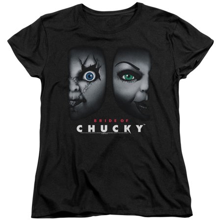 Chucky Stripped Shirt (Bride Of Chucky Happy Couple Womens Short Sleeve)