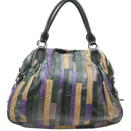 Miu Miu Patent Leather - Patchwork Hobo 869478 Multi Color Leather Shoulder Bag