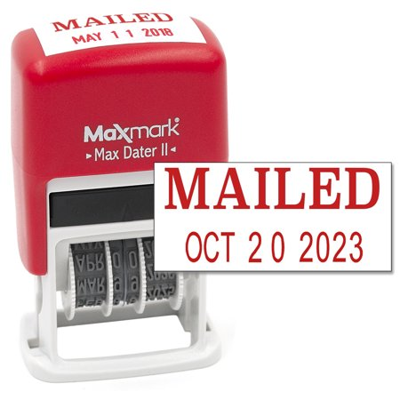 MaxMark Self-Inking Rubber Date Office Stamp with MAILED Phrase & Date - RED INK (Max Dater II), 12-Year Band