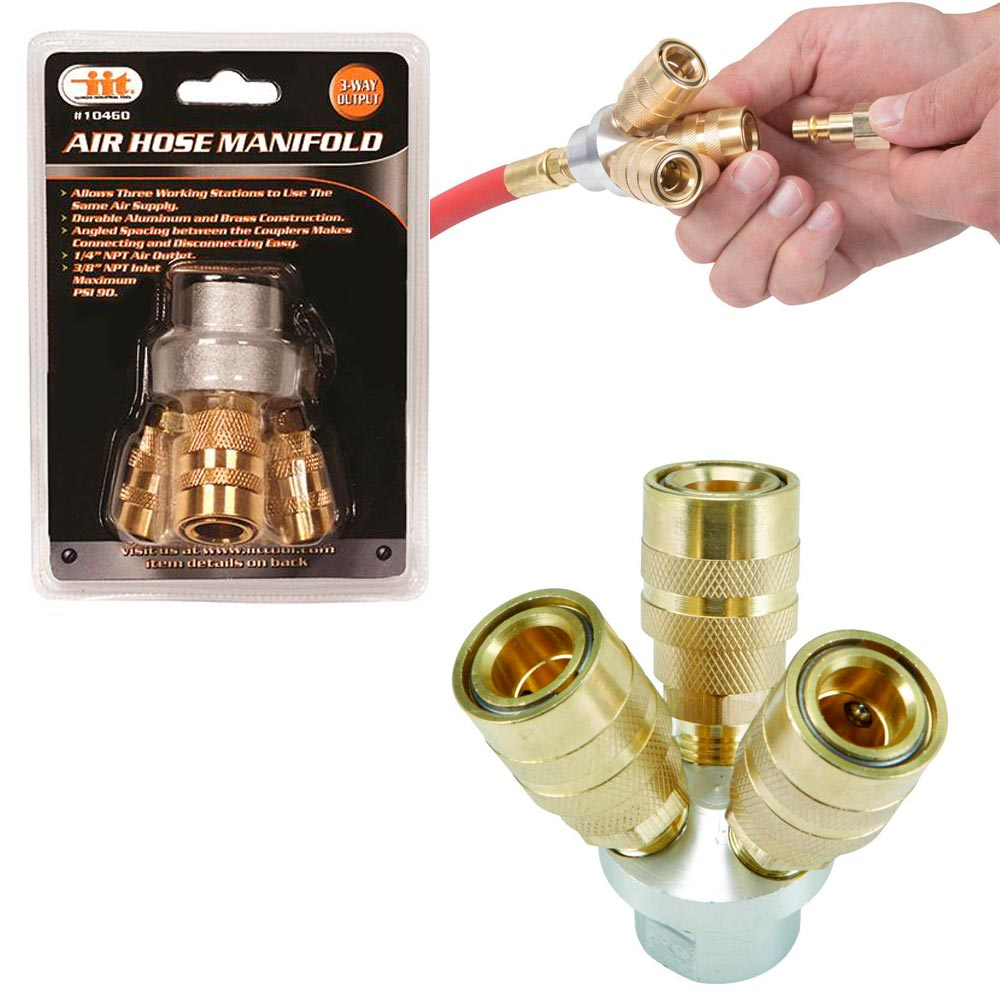 3 Way Quick Coupling Air Hose Splitter Manifold Quick Connector Brass Aluminum