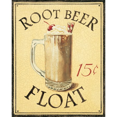 Malt Shop IV Root Beer Float Sign Cream Trendy Cafe Fifties Ice Popular Ad Dorm Picture 11X14 - Fifties Theme