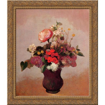 Flowers In Aa Brown Vase 20X20 Gold Ornate Wood Framed Canvas Art By Redon  Odilon