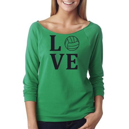 Love Volleyball Sports Jersey Off The Shoulder French Terry Top