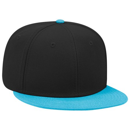 Blend Snap (OTTO SNAP Wool Blend Twill Round Flat Visor 6 Panel Pro Style Snapback Hat -)