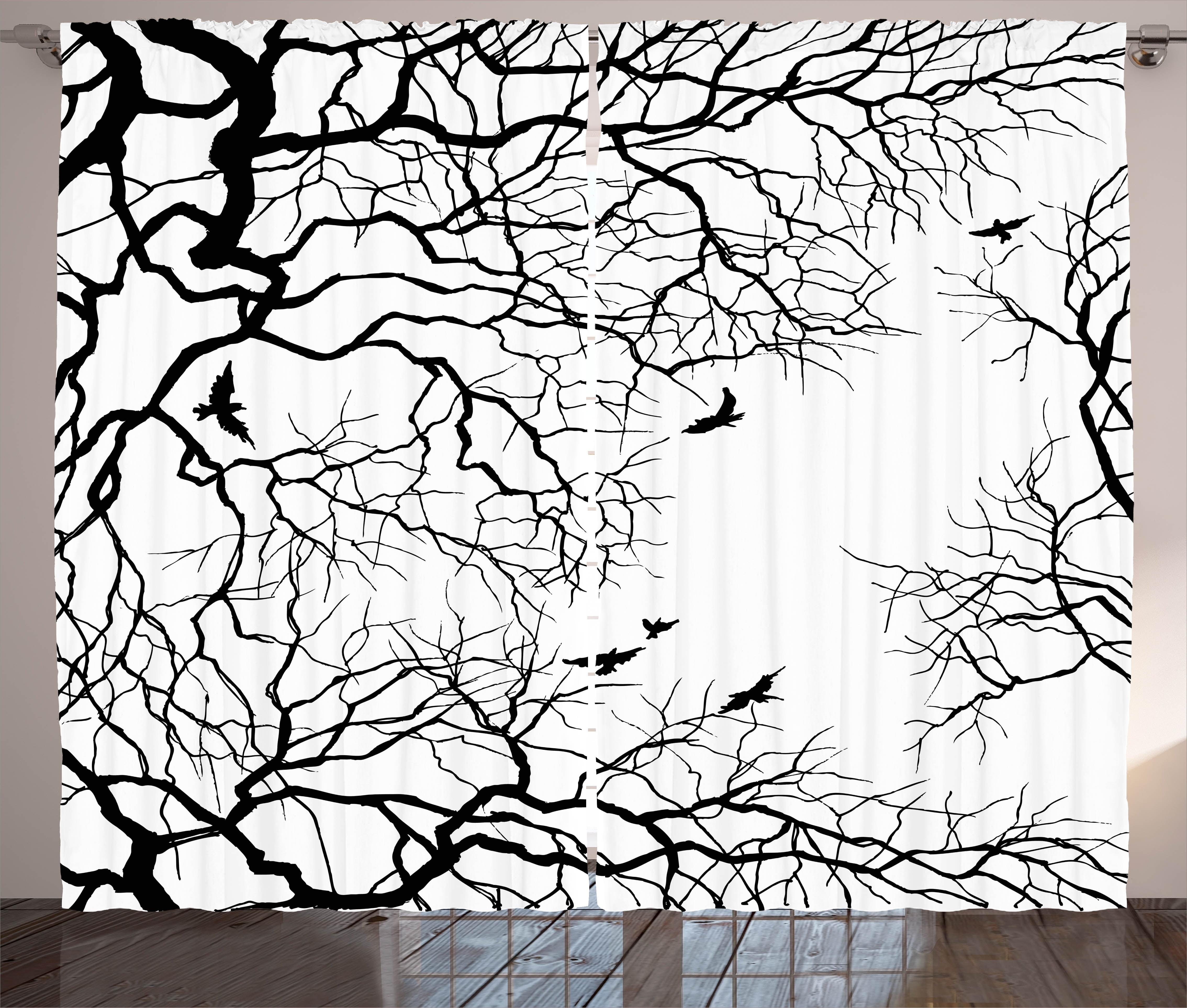 Nature Decor Curtains 2 Panels Set Birds Flying Over Twiggy Tree