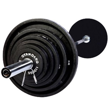 Harvil 300 Pound Black Olympic Weight Set With 7 Feet Chr