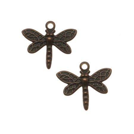 Vintaj Natural Brass Princess Dragonfly Charm Beads 12mm (2)